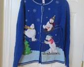 Womens Christmas sweater size L ugly xmas sweater large 12/14 Polar Beats sleding