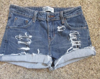 "Levis cut off denim jeans W 32 mid rise 32"" waist womens levi's cut off shorts"