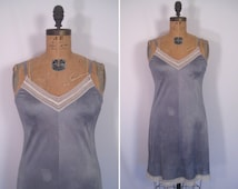 hand dyed vintage slip dress - gray • upcycled slip dress • revamped vintage slip
