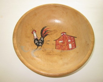 Vintage Wood Bowl with Handpainted Rooster & Barn
