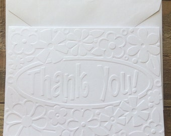 Flower Thank You White Embossed Note Cards,  Greeting Cards, Stationery Set, Wedding Thank You Cards, Graduation Thank You