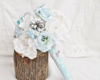Ice Blue Wedding Bouquet, Winter Wonderland Bouquet, Snowflake Wedding, White Rose Wedding, Winter Bouquet, Winter Wedding, Bridal Bouquet