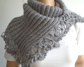 Grey Cowl, Scarf, Knitting Scarf, Scarves, Women Chunky Scarf, Accessories, For Her Gifts, Neckwarmer, Wool Scarf, Winter Scarf