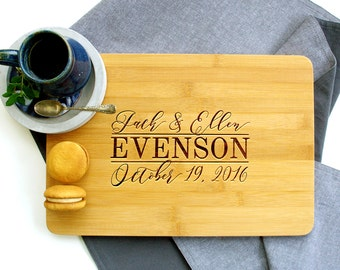 Personalized Cutting Board, Custom Cutting Board, Wedding cutting board, Script Solid