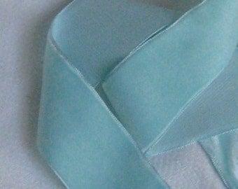 "1 Yard Aqua (Light Turquoise) Velvet Ribbon Trim - Vintage Antique NOS - 1-1/2"" Wide - Made In Switzerland - Sewing Crafting Supplies"