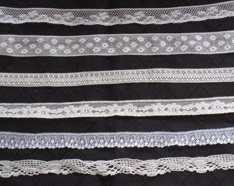 Antique Cotton Lace Trim Sampler - 6 Pieces; 2.5 Yards In Total - Cream & Creamy White - Medium to Narrower Widths - NOS - Vintage Supplies
