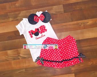 Minnie Birthday Outfit, Minnie 4th Birthday, Minnie Birthday, Minnie Mouse Shirt, Minnie Outfit, Minnie Shorts, Minnie Shorts Set, Minnie