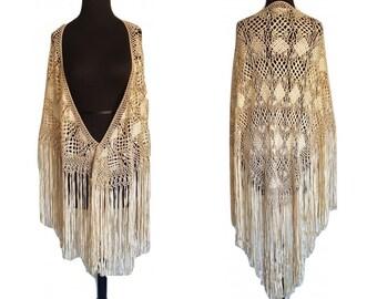 Vintage Ribbon Piano SHAWL  • Ivory Downton Abbey Crochet Long Fringe Flapper Wrap  • Great Gatsby Wedding Cape  • Festival Shawl