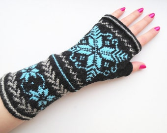 Merino wool gloves,womens fingerless mittens,wool fingerless gloves,colorful wrist warmers,autumn fashion accessories,Christmas gift for Her