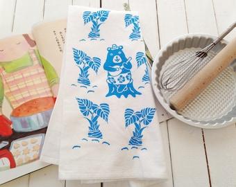 Flour Sack cotton Tea Towels -  Screen Printed Tea Towel - Kitchen Towels  -  Eco Friendly Cotton Dish Towel -  Hawaii - Taro - Bear - Blue