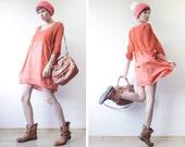 Rust red orange dyed cotton high waist tunic mini dress
