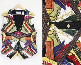 Vintage multicolor knitted leather bead embroidery patchwork sweater vest top