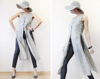 90s vintage grey linen long sleeveless duster coat maxi vest top XS-S