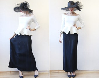 Vintage black micro pleated floor length maxi skirt M