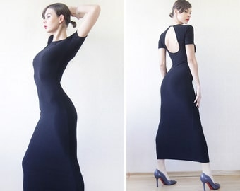90s vintage black minimalist cut out keyhole open back tight fitted short sleeve maxi dress