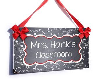 teacher classroom chalkboard white math algebra door sign - P2479
