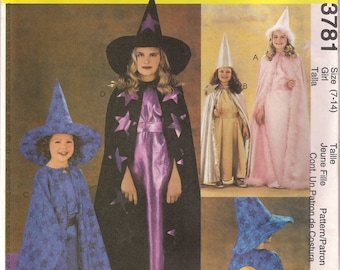 McCall's Costume Sewing Pattern 3781 - Children's and Girls' Magic/Witch Costume (3-6, 7-14)