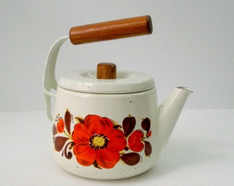 Vintage Arabia 60s Finel Seppo Mallat Tea Kettle 1 Qt Porcelain Enamel Wood Cantilever Handle Off White Orange Flower MCM Finland Danish Mod