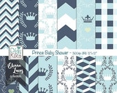 70% SALE Prince Baby Shower Digital Papers, Baby Boy Scrapbook Paper - Crown Papers - Baby Blue Background - Baby Shower Papers - INSTANT