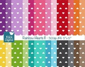 70% Sale Colorful Hearts II Digital Papers - Colorful Scrapbook Papers - card design, invitations, background, paper crafts - INSTANT DOWNLO