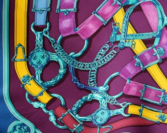 Silk Hermes Paris Scarf-Cavalcadour teal neckerchief-Designer Scarf-Made in France- Print-Primary Coulours-Silk Screened Scarf-Couture