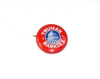 Truman Barkley Pinback Presidential Campaign Button Vintage Repro