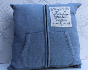 Hoodie Remembrance Cushion, Custom-made Hoodie Keepsake Cushion, Men's Sweat-top Pillow, Embroidered Patch Cushion, Keepsake Pillow