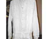 Vintage Soft White FREE PEOPLE Victorian Style Button Front Tie White Beaded Lace Edwardian Bohemian Boho Cotton Blouse