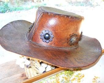 Equestrian Cowboy Leather Hippie Hat Wide Brim Vintage 1960s Rustic Farmhouse Country Western Cabin Cattle Horse Ranch Folk Art Porch Decor