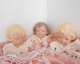 Ceramic Cherub Angels Wall Hanging Shabby Chic Victorian Decor