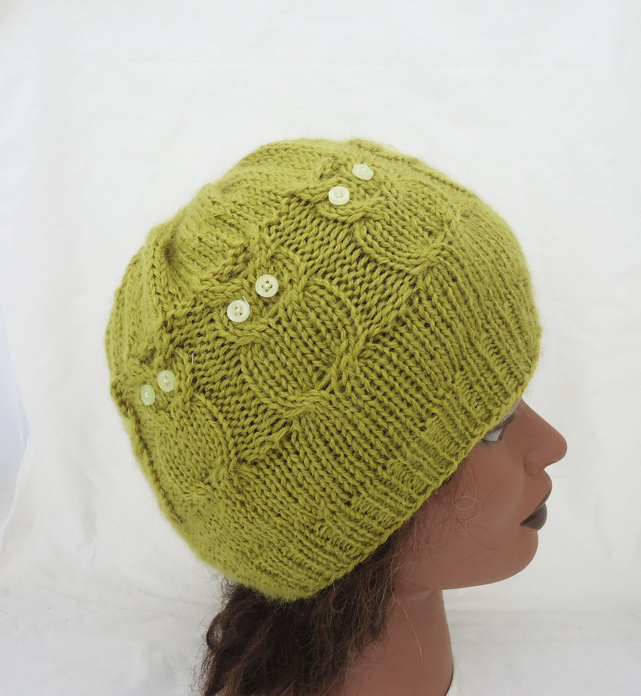 owl hat cable benie hat owl hat in olive green