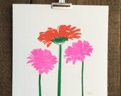Risograph Flowers 10x10 Art Print
