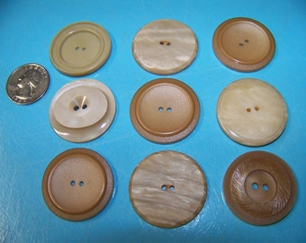 Lot of 9 Vintage Big Thick Beige and Tan Project Buttons
