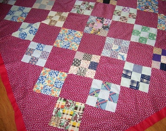REDUCED Vintage 30s/40s Hand Done Quilt Top Small Prints