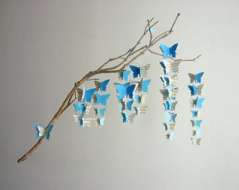 "Butterfly Baby Mobile ""Blue Ombre"" - Unique Baby Gift - New Baby - Eco-friendly Mobile - Crib Mobile - Nursery Decor - Blue Baby Boy Mobile"