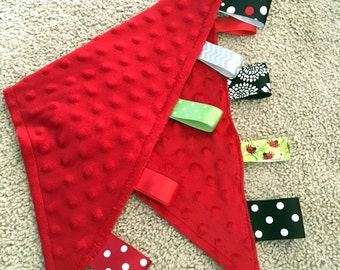 Ribbon Burpie / Minky Burp Cloth: Red Minky, Personalization Available