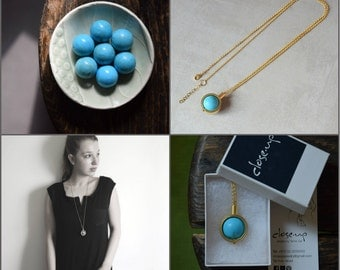 Gold and turquoise pendant necklace, Turquoise jewelry, Boho necklace, December birthstone necklace, Gemstone necklace, Long gold necklace