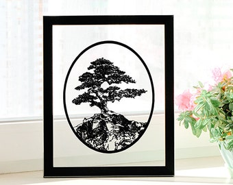 Bonsai Tree - Handmade Paper Cut Gift - UNFRAMED