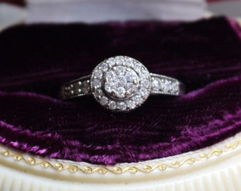 Vintage 10K White Gold & Diamond Cluster Halo Engraved Engagement Ring 6.75