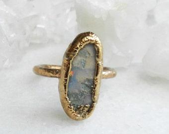 ON SALE opal ring, boulder opal, rose gold, rose gold ring, stacking ring, stackable ring, fire opal, gift for her