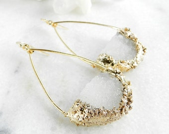druzy earrings, druzy hoops, gold earrings, gold hoops, druzy gold, gifts for her, crystal earrings, quartz earrings, gold filled
