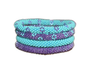 Neon Purple and Turquoise Handmade Beaded Bracelets Set,Seed Beads,Nepal, Flower Pattern