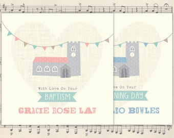 Christening card | Baptism card | Holy Communion card | Dedication card | Confirmation card | Church card | personalised card |