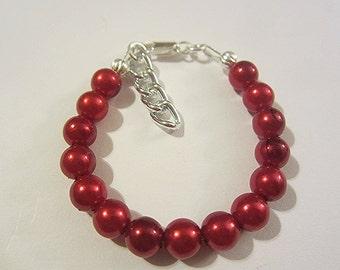 Newborn baby red acrylic pearl  bracelet