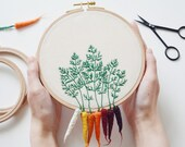 Rainbow Carrots Hand Embroidered Hoop
