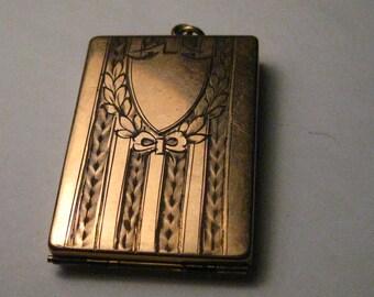 "10kt G.F. True Vintage Art Deco Hinged Photo Locket Pendant. 1.75"" x 1.25"", Engraved, Rose Gold"
