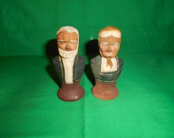 One (1), Pair of Hand Carved, Wooden, Salt & Pepper Shakers from R. Audet.