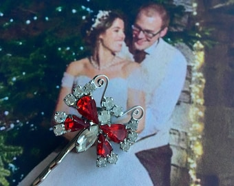Bridal Butterfly Hair Pin Jewerly 1950's Red Ice Rhinestone Woodland Hairpin Bobby Pin