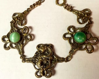 Czech Dragon Bracelet Art Deco Vintage 1930's Khaleesi Victorian Game of Thrones