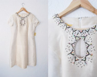 Vintage 1960s Cream Silk Wool Blend Beaded DEADSTOCK Dress Womens Gown Hong Kong Embroidered